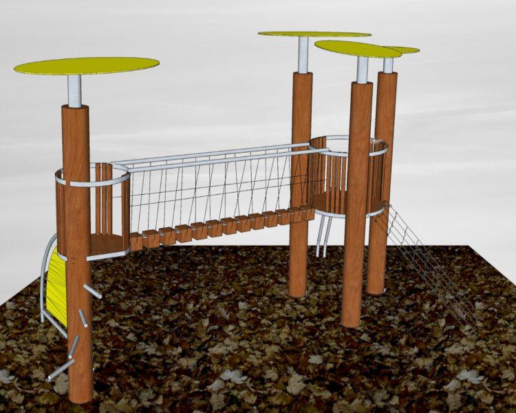 Klettergerüst mit Wackelbrücke