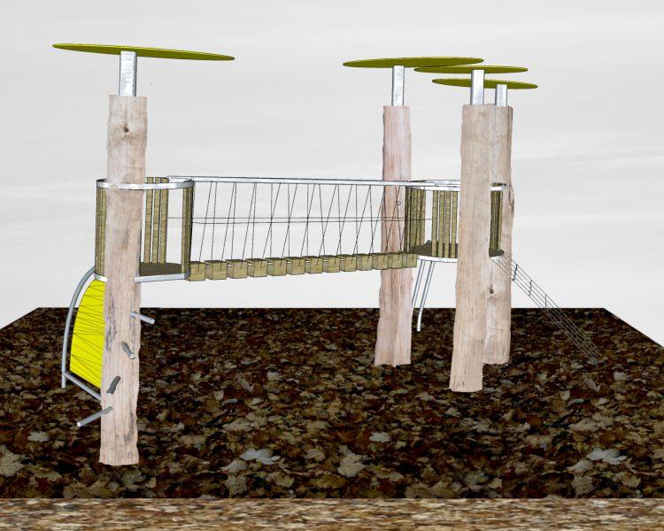 Klettergerüst mit Wackelbrücke, Robinie