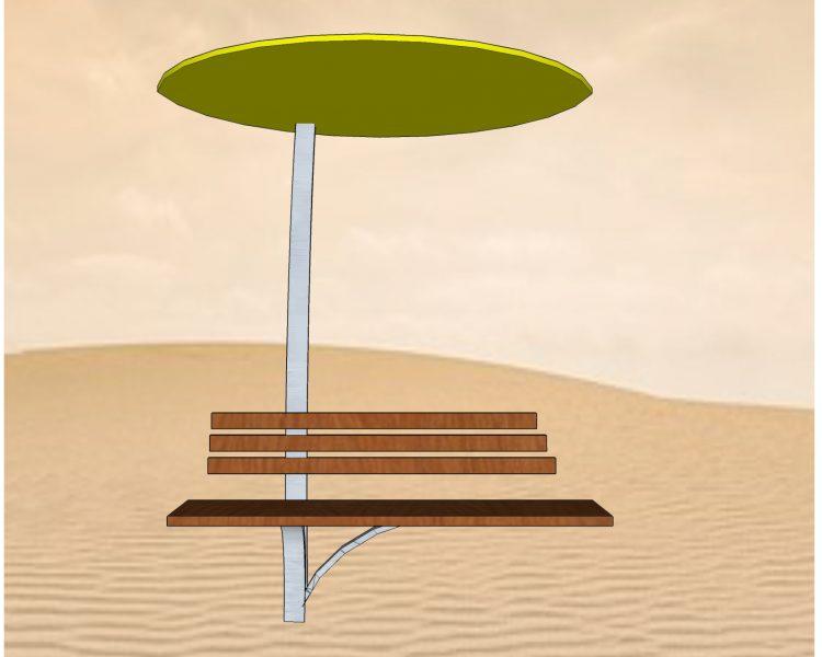 Sitzbank mit Schirm, Edelstahl, Entwurf